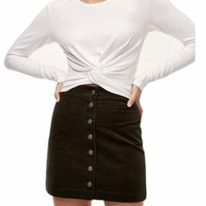 Aritzia Wilfred Free Karmen Black Corduroy Skirt